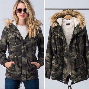 Jackets & Blazers - Last 1️⃣ Camo Jacket w/Faux-Fur Trimmed Hood